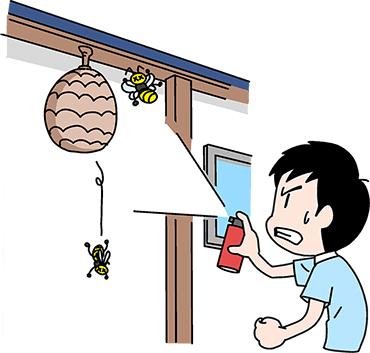 スプレーでハチ駆除